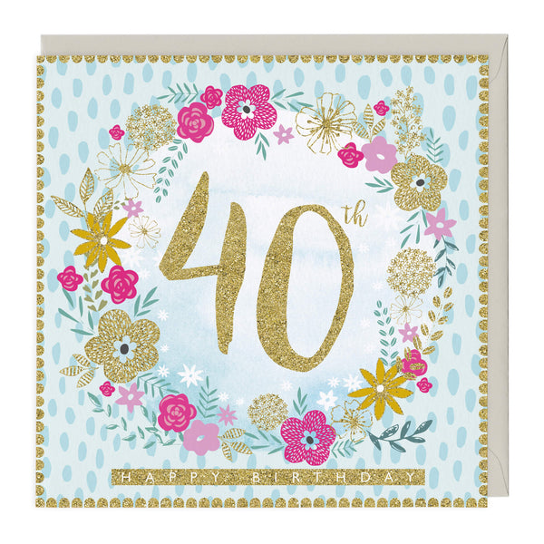 40th Happy Birthday Glitter Card