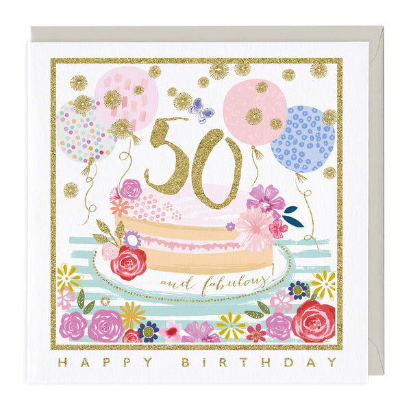50 and Fabulous Glitter Card