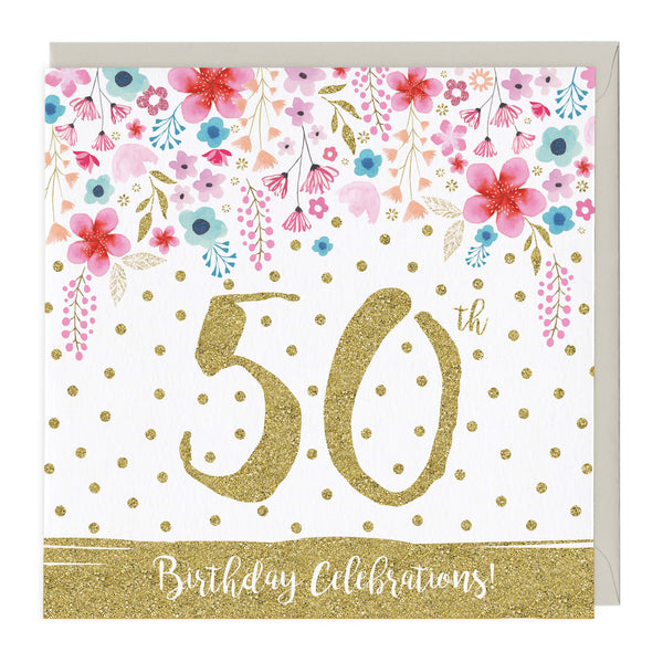 50th Birthday Celebrations Glitter Card