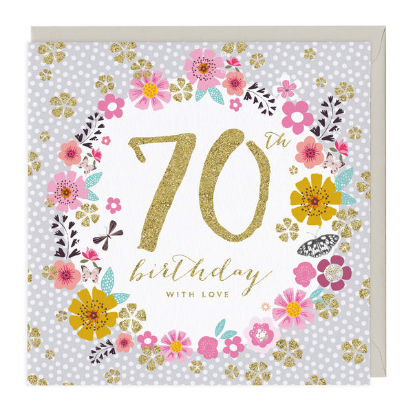 70th Birthday Glitter Card