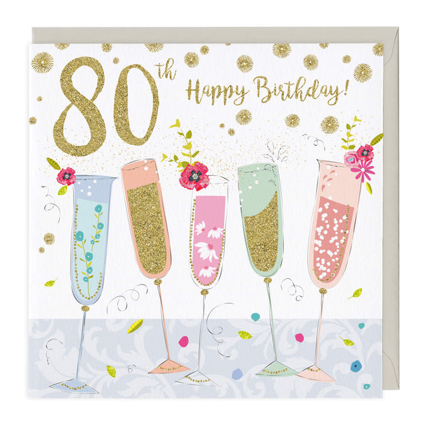 80th Happy Birthday Glitter Card