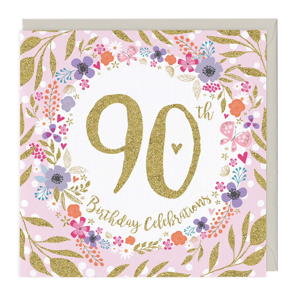 90th Birthday Celebrations Glitter Card