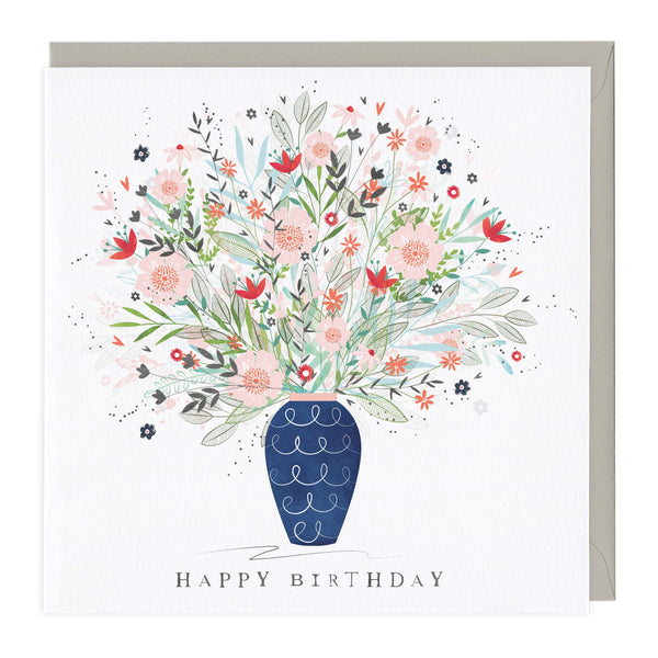 Floral Vase Birthday Card