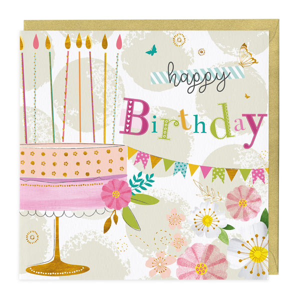 Happy Birthday Bunting and Cake Card