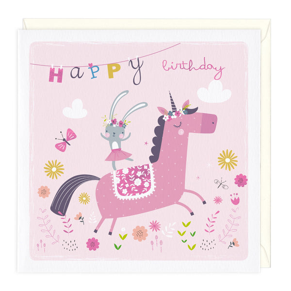 Bunny & Unicorn Childrens Birthday Card