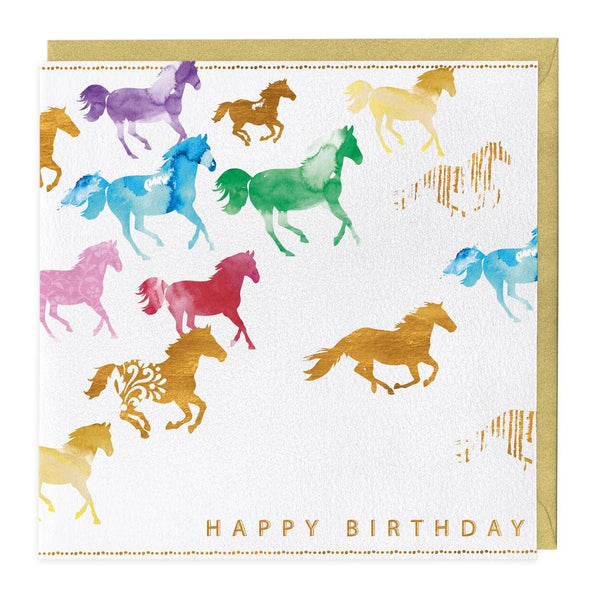 Galloping Horses Birthday Card