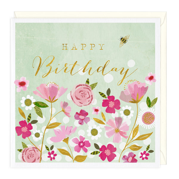 Golden Bee Happy Birthday Card