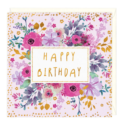 Floral Garden Happy Birthday Card