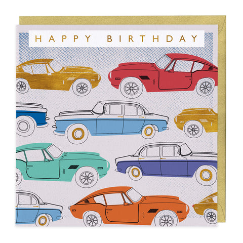 Classic Cars Happy Birthday Card