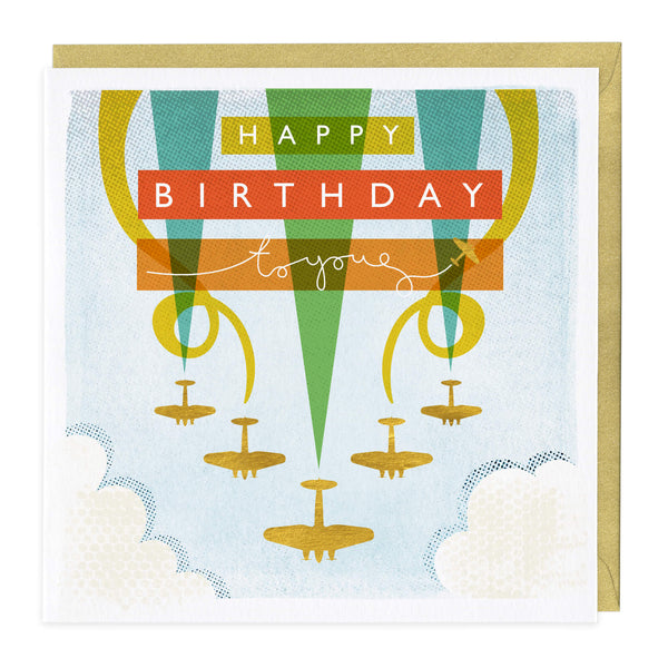 Golden Planes Birthday Card