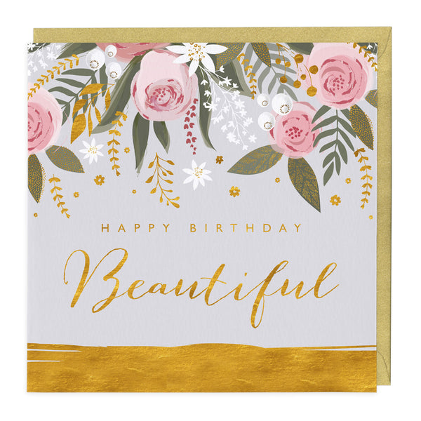 Golden Happy Birthday Beautiful Card
