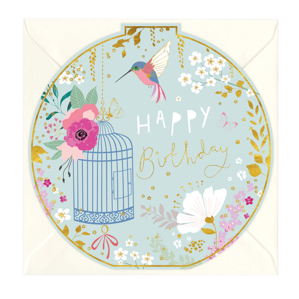 Happy Birthday Hummingbird Round Card