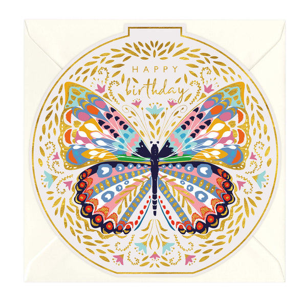 Happy Birthday Butterfly Round Card