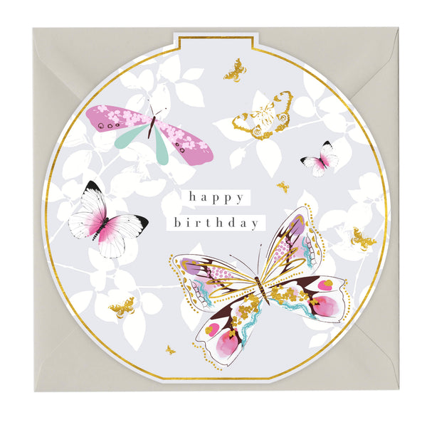 Happy Birthday Butterflies Round Card