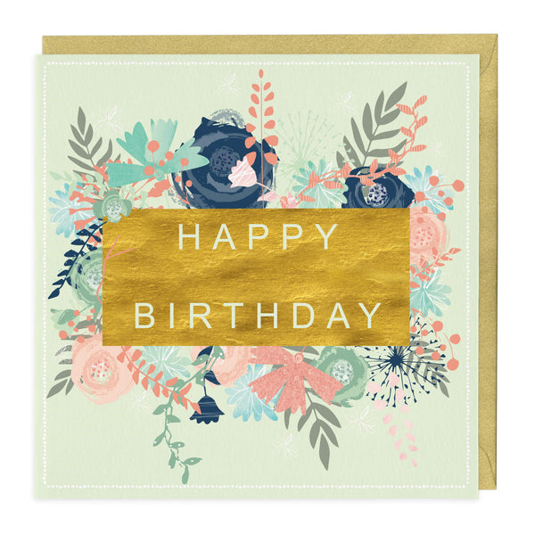 Golden Floral Happy Birthday Card