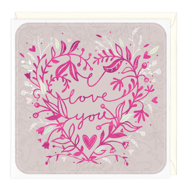 Personalised Floral I Love You Card