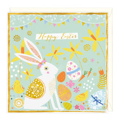 Bunny and Eggs Happy Easter Card