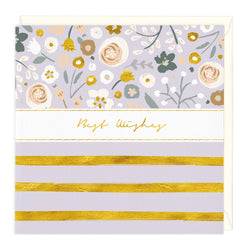 Gold Stripes Floral Best Wishes Card