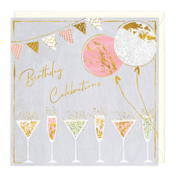 Glasses of Fizz Birthday Celebrations Card