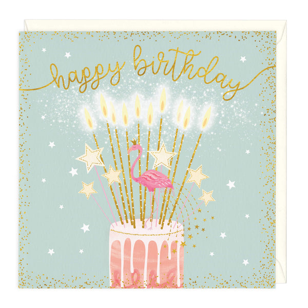 Happy Birthday Flamingo Cake Card