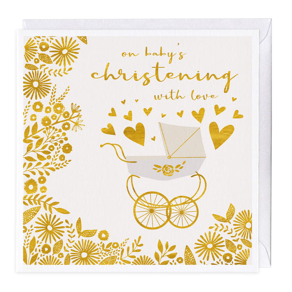 Pram & Hearts Baby's Christening Card