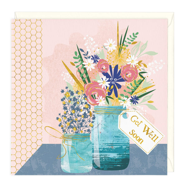 Floral Vase Get Well Soon Card