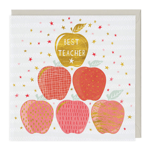 Golden Apple Best Teacher Card