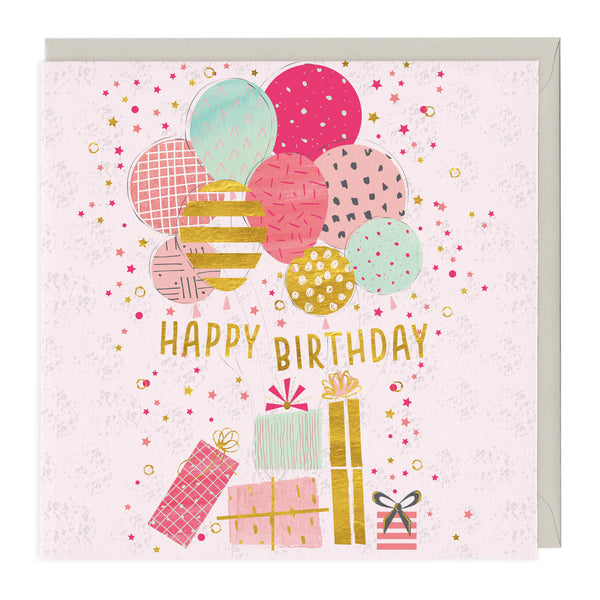 Happy Birthday Balloons & Presents Card