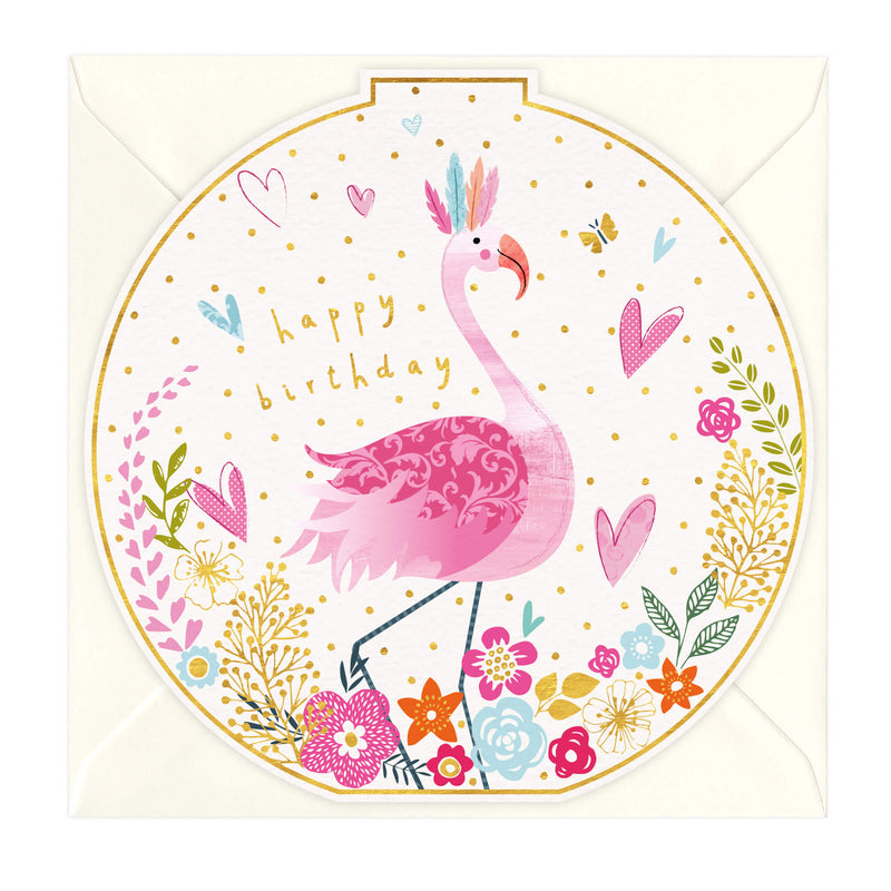 Happy Birthday Flamingo Round Card