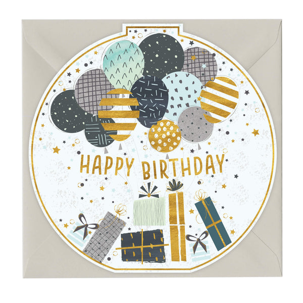 Happy Birthday Balloons & Presents Round Card