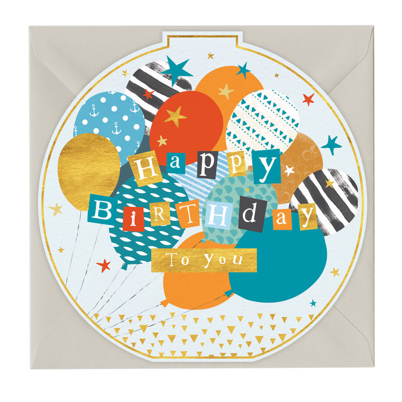Happy Birthday To You Balloons Round Card