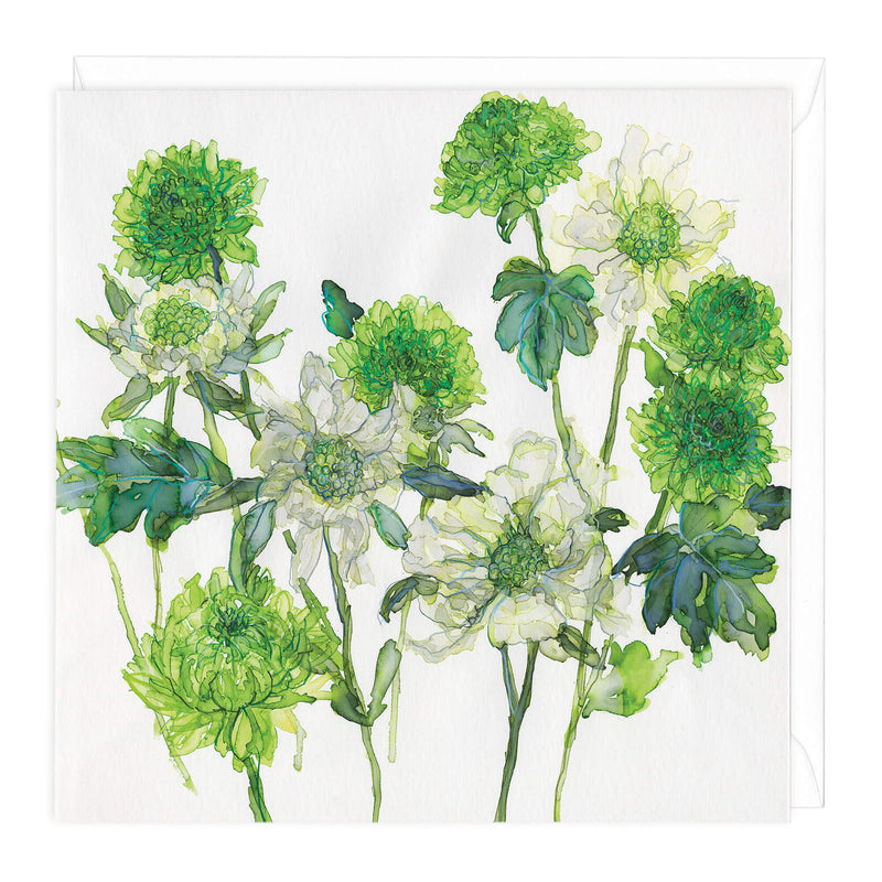 Scabious and Chrysanthemums Art Card