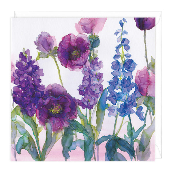 Poppies & Delphiniums Art Card