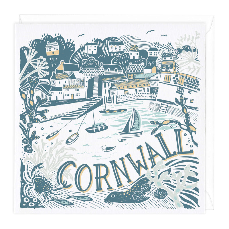 Cornwall Harbour Scene Greeting Card