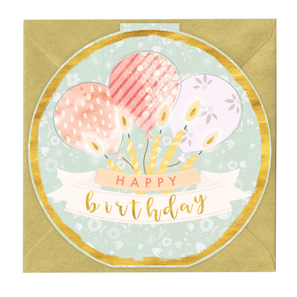 Happy Birthday Bauble Round Card