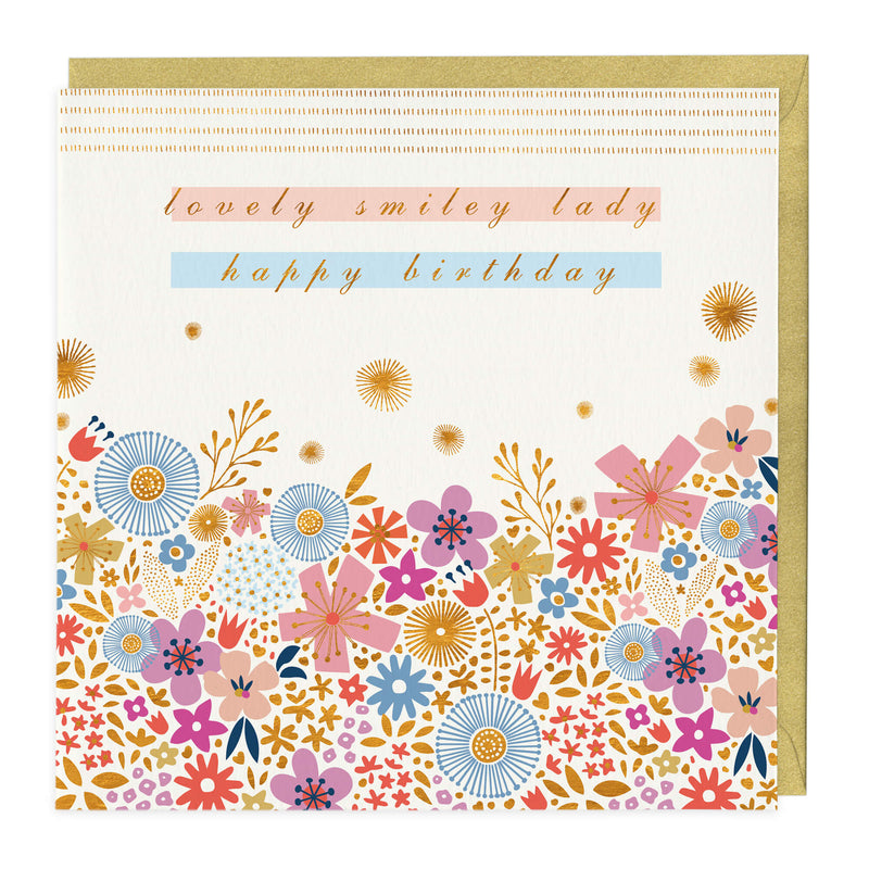 Lovely Smiley Lady Birthday Card