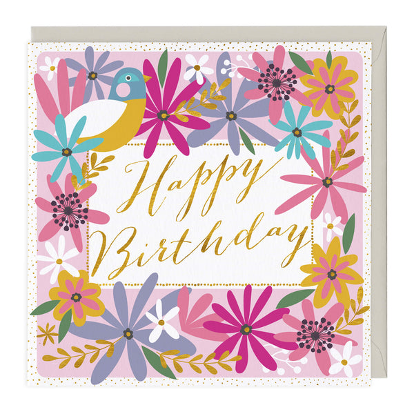 Floral Bird Happy Birthday Card