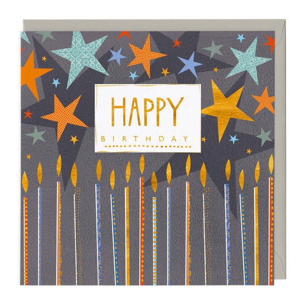 Navy Candles Birthday Card