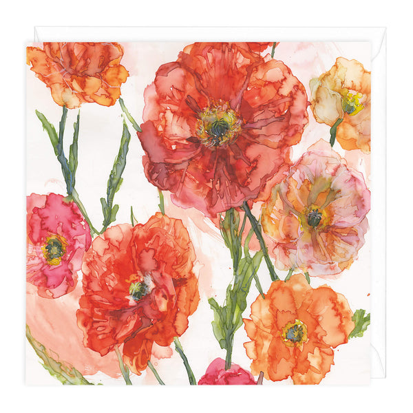 Burnt Orange Poppies Card