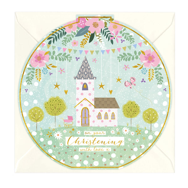 With Love Round Christening Card
