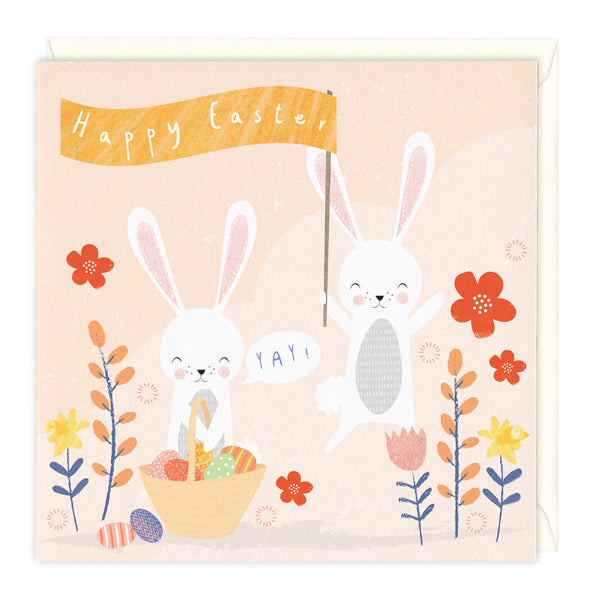 Cute Bunnies Happy Easter Card