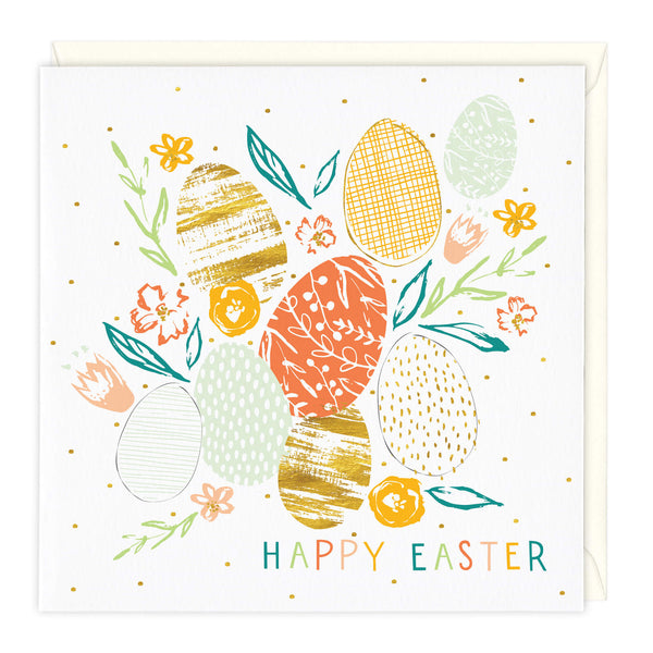 Patterned Eggs Happy Easter Card