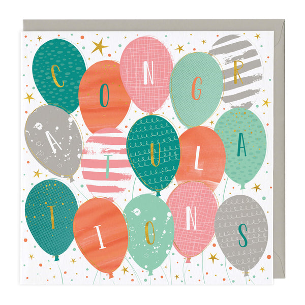 Colourful Balloons Congratulations Card