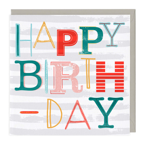 Fun Typography Neon Birthday Card