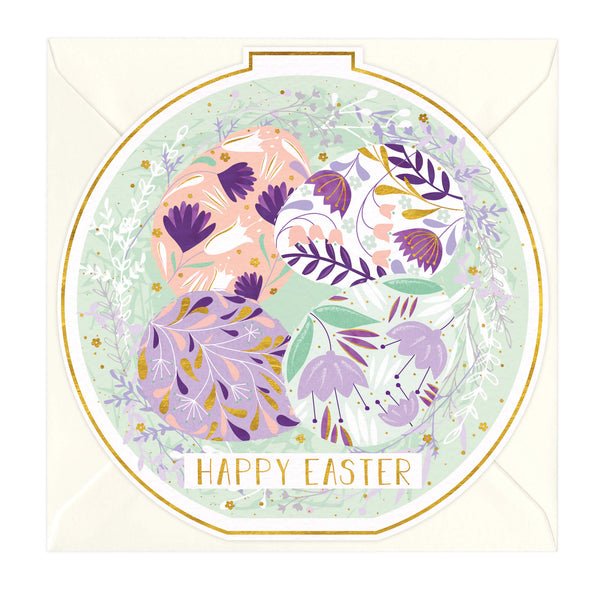 Floral Eggs Round Easter Card