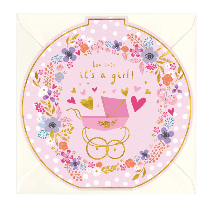 It's A Girl New Baby Round Card