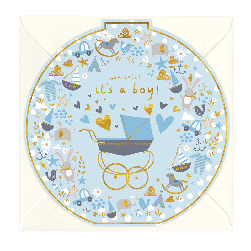 It's A Boy New Baby Round Card