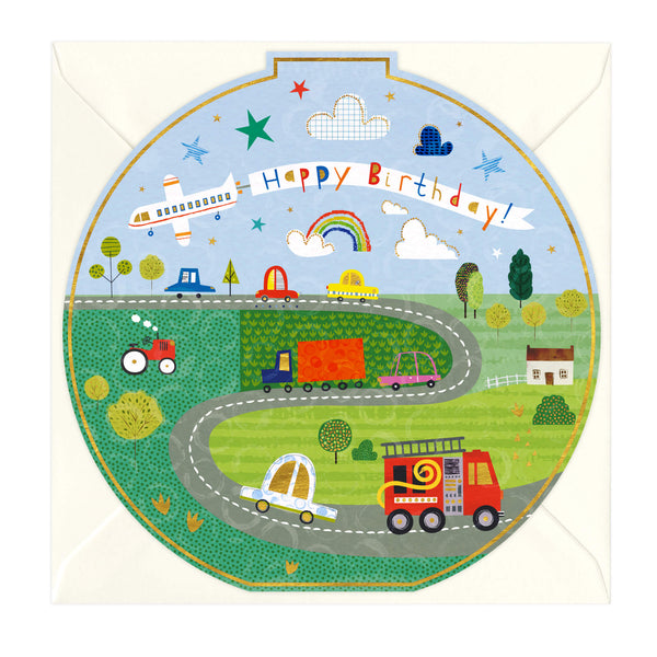 Cars, Tractors and Planes Round Birthday Card
