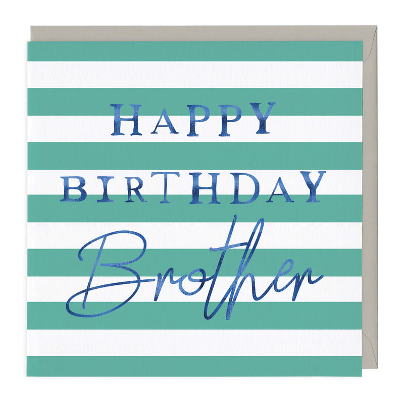 Blue Typography Brother Birthday Card