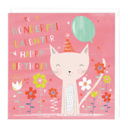 Party Cat Wonderful Daughter Birthday Card